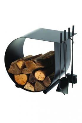 Serviteur de cheminée pelle, pince, pique, balai et réserve de bois