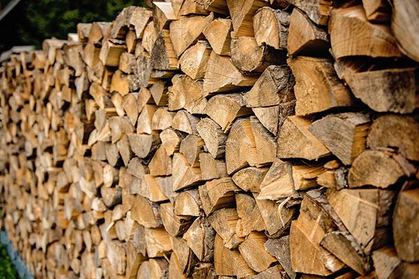 Bûches de bois fendues et rangées