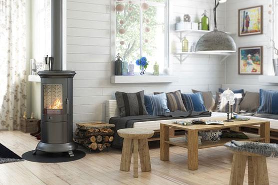 salon scandinave avec poêle à bois